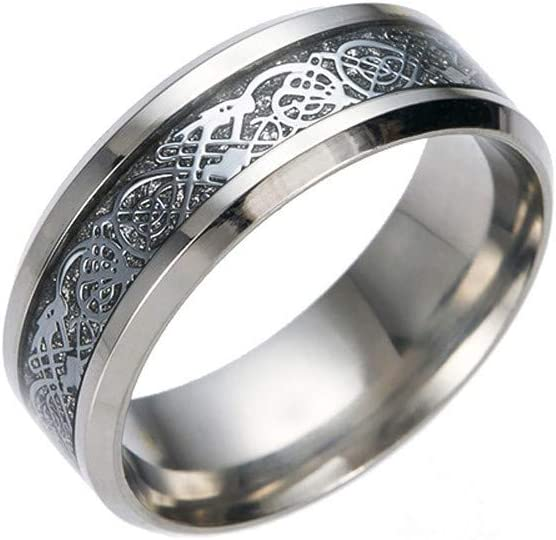 2020 New Titanium Stainless Steel Dragon Pattern Ring with Silver Golden Punk Ring Wedding Anniversary Souvenir for Girlfriend Boyfriend Sodoop Dainty Rings