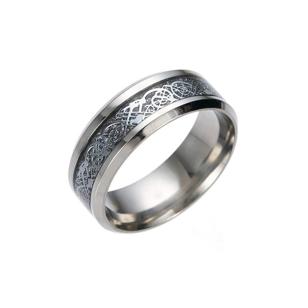 9 Xshuai  Bague de Mariage en carbure de tungst/ène plaqu/é Argent pour Femme et Homme Motif Dragon Celtique Noir