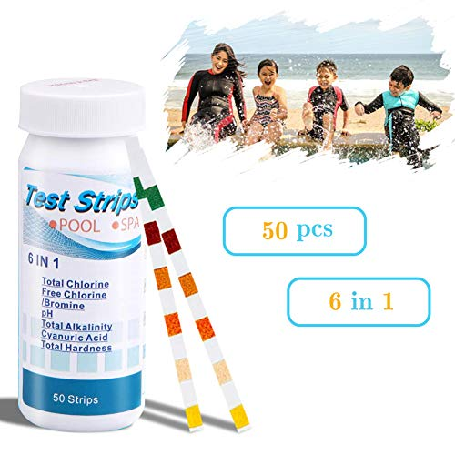 COZYMATE Pool Test Strips, 6 in 1 Spa Test Strips for Hot Tubs, PH, Total Chlorine&Alkalinity, Free Chlorine/Bromine, Cyanuric Acid. Total Hardness Test Strips