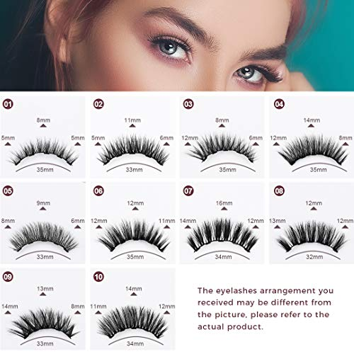 ToyRis Magnetic Eyelashes with Eyeliner Kit - 3 Pairs 10 Pairs Waterproof Reusable 3D 5D Natural Look False Lashes with Tweezers No Glue Needed (10 Pairs (Mixed))