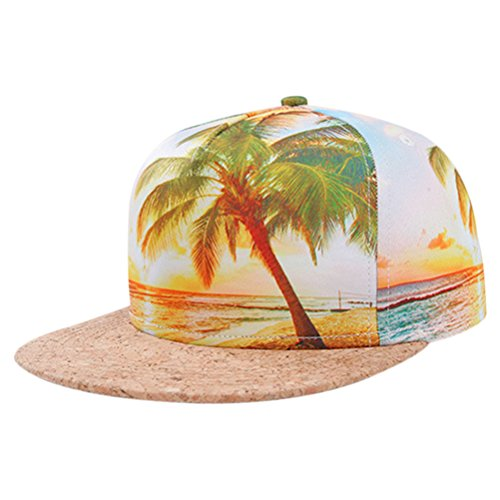 So'each Galaxy Hawaii Coconut Tree Print Flatbill Visor Snapback Cap Baseball Hat