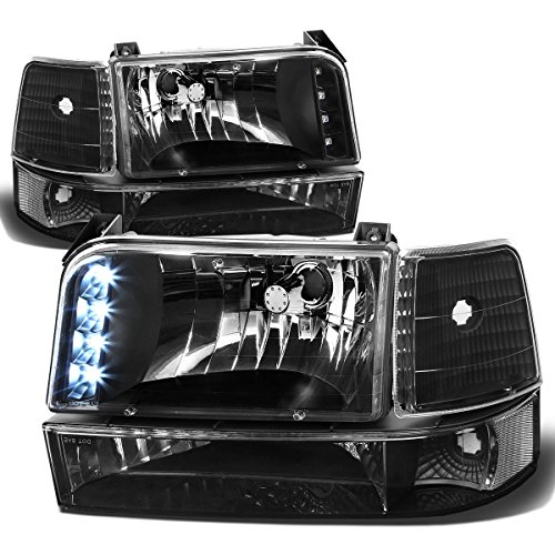 Grille Assembly Ford 96 Bronco (For Ford F-Series/Bronco 6-PC Black Housing Clear Corner LED DRL Headlight+Bumper Lamp+Signal Light)