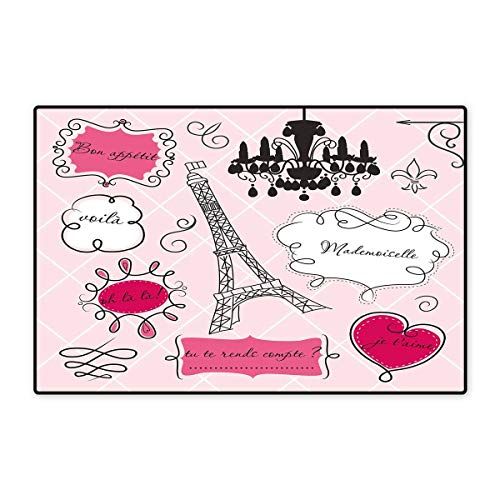 (Teen Room Decor Floor Mat for Kids Doodle Frames French Style Rococo Baroque Lantern Mademoiselle Print Floor Mat Pattern 32