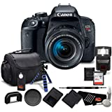 Canon EOS Rebel T7i DSLR Camera with 18-55mm Lens 1894C002 - Bundle with 64GB Memory Card, Extra Battery, Tripod + More