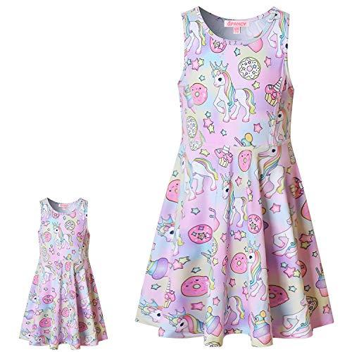 Girls & Dolls Donut Unicorn Dresses for Girls Size 6 7 Casual Summer Sun Dresses
