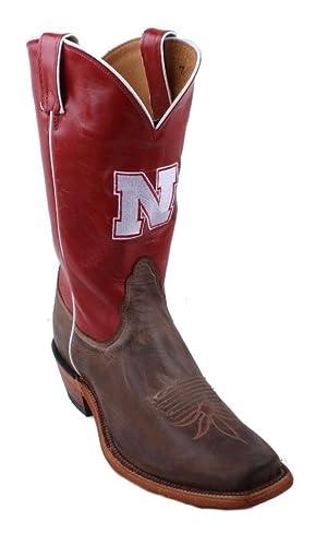 Nocona 7LDUN22 Womens Nebraska Crimson/Tan Cowhide Branded College Boots