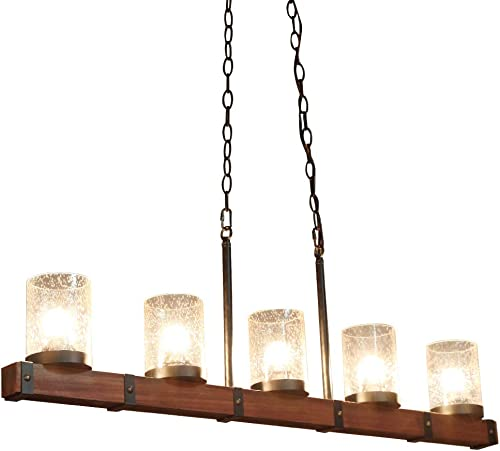 TABLIGHT Birch Wood Antique with Single Glass Lodge Hanging Pendant Light Decorative 5 Lights Ceiling Light
