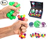 STRESS BALLS FOR KIDS PACK OF 6 [3 Mesh Stress Ball + 3 Bead Balls] Tactile Sensory Squishy Stress Balls for Anxiety Autism & ADHD - Best Stress Ball & Squeeze Toys for Calming Therapy Tools in School