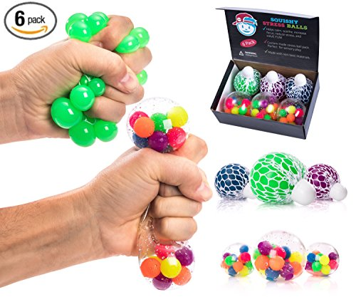STRESS BALLS FOR KIDS PACK OF 6 [3 Mesh Stress Ball + 3 Bead Balls] Tactile Sensory Squishy Stress Balls for Anxiety Autism & ADHD - Best Stress Ball & Squeeze Toys for Calming Therapy Tools in School by The Adventurous Mind Sensory Toys