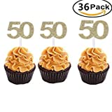 Set of 36 Golden Number 50 Cupcake Toppers 50th Birthday Celebrating Party Decors