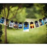 OULII Graduation Party Banner Graduation Hat Shaped Bunting Garland Photo Props Backdrop with Clips Graduation Party Favors