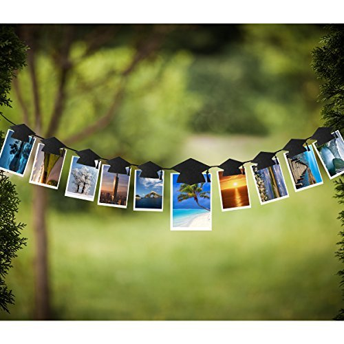 OULII Graduation Party Banner Graduation Hat Shaped Bunting Garland Photo Props Backdrop with Clips Graduation Party -