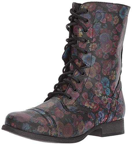 Steve Madden Women's Troopa-F Combat Boot, Floral, 6.5 M US (Boots Floral)