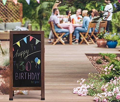 Arteza A-Frame Chalkboard Easel Set, 40x20 Inch Outdoor Chalkboard Sign with Chalk Sticks, Chalk Markers, Erasers, and Stencils, Standing Sign for Businesses, Announcements & Events 4