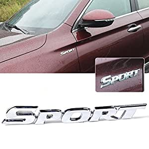 beler 3D Silver SPORT Emblem Metal Car Decal Sticker Auto Motorcycle Badge Vehicle Decoration