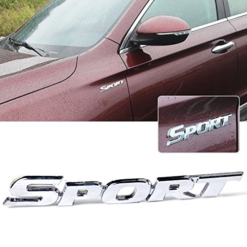 beler 3D Silver Sport Emblem Metal Car Decal Sticker Auto Motorcycle Badge Vehicle Decoration