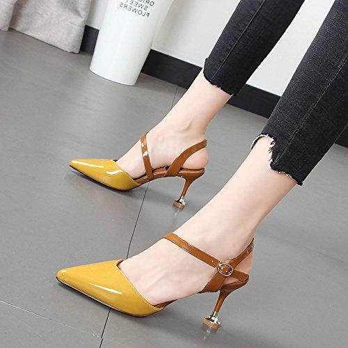 salvaje Baotou Qiqi zapatos costuras ranurada detalle tip Sandalias de con mujer Xue Amarillo correa mujer color AtPSxqqw