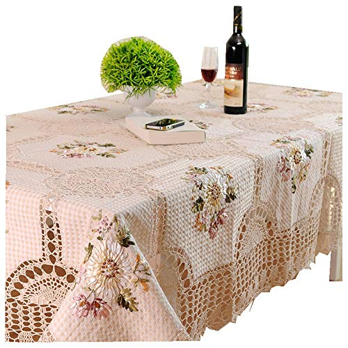 (XHHWZB Wedding Table Cloth Beige Flower Crochet Round Rectangular Table Cloth Embroidery Tablecloth Christmas Dinning Table Cover (Size :)