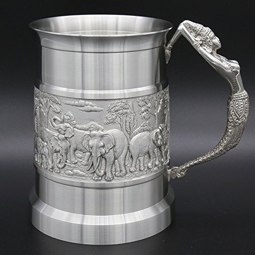 Oriental Pewter Pewter Beer Mug - Pure Tin 97% Lead-Free Pewter BJ12L Hand Carved Beautiful Embossed Handmade in Thailand by Oriental Pewter