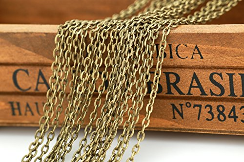 32 Feet Chain for Bracelet Necklace Vintage Antique Bronze /Silver /Gold Plated Twisted Cross Chains-jewelry Making (Bronze Necklace Chain)