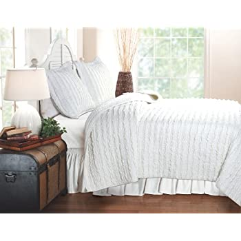 Amazon Com Greenland Home Ruffled White Quilt Set King