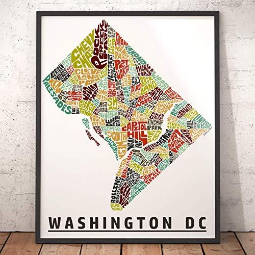 (Washington DC Neighborhood Map Print, signed print of my original hand drawn Washington DC typography map art )