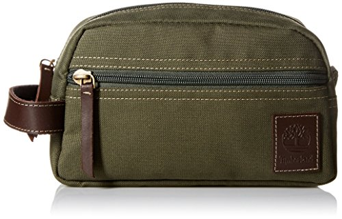 (Timberland Men's Toiletry Bag Canvas Travel Kit Organizer, Olive, One Size)
