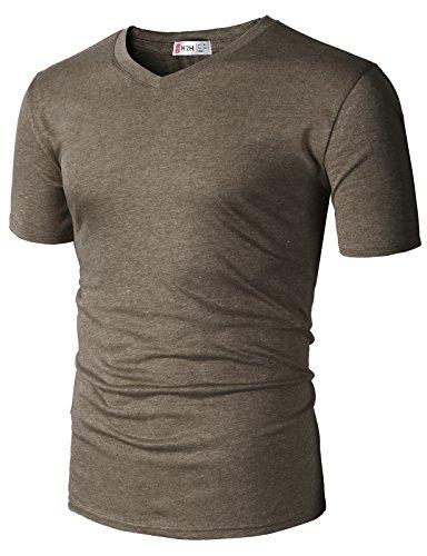 (H2H Men T-Shirt Fashion Pullover Short Sleeve Sport Running Gym Top HEATHERBROWN US 3XL/Asia 4XL (CMTTS0228))