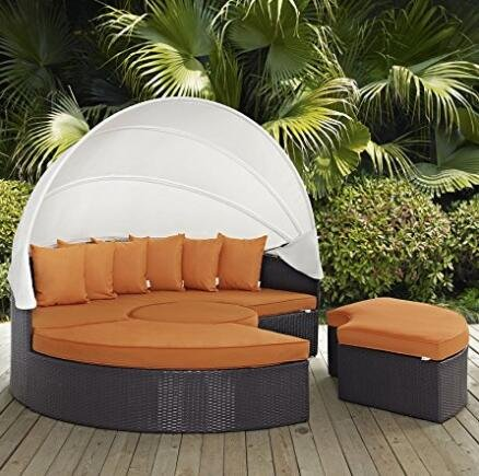 Bellagio 4-piece Outdoor Daybed Sectional Set (orange162) (Sale Daybed Wicker)