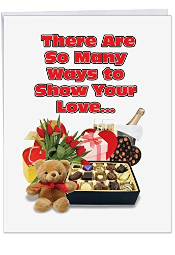- So Many Ways: Happy VDay Greeting Card with Envelope Jumbo 8.5 x 11 Inch - Valentine Flowers, Chocolates, Candy, Teddy Bear, Champagne - Stationery for Personalized Love Letter, V-Day Gift J2187VDG
