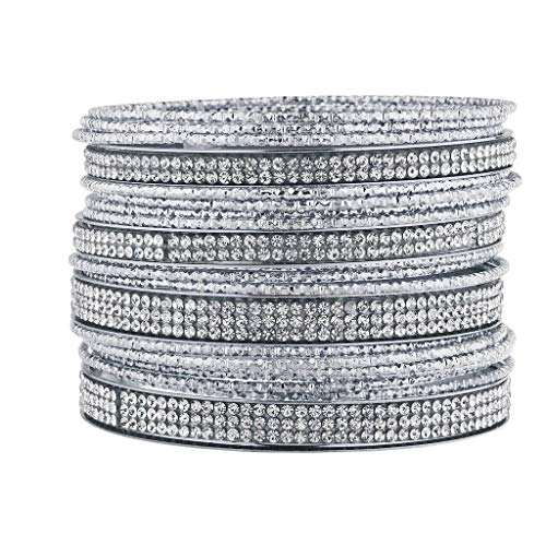 (Lux Accessories Silver Tone and Sticker Stone Multi Bangle Pack )