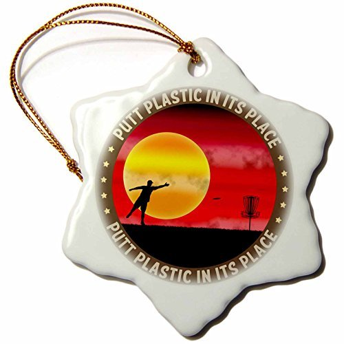 Angel Ornaments Putt Plastic in its Place Silhouette of Frisbee Disc Golfer Putting at Sunset Snowflake Ornament, Porcelain, (Spirit Halloween Utah)