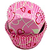 Chef Craft Paper Patterned Cupcake Liners, 50 count, Pink/White/Red