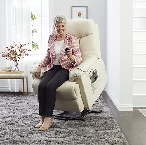 Wall Hugger Recliner Made From Elegant White Leather Upholstery w/ Padding For Added Comfort. Ideal For Small Spaces Place This Transitional Lounge Chair