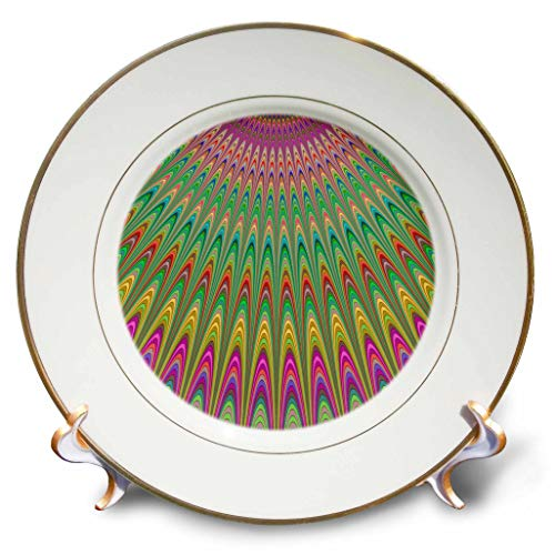 3dRose David Zydd - Colorful Abstract Designs - Blessing from Heaven - multicolor fractal graphic - 8 inch Porcelain Plate (cp_289108_1)
