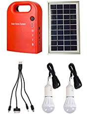 GutReise Portable Home Outdoor Small DC Solar Panels Charging Generator Power Generation System 4.5Ah / 6V Lead-Acid Batteries with 6000K-6500K White LED Bulb and Mobile Phone Charging Function