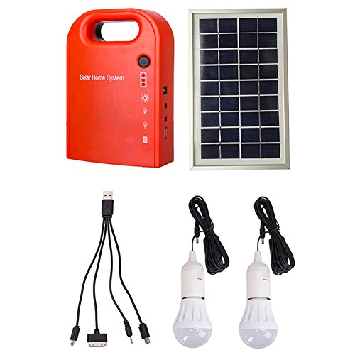 GutReise Portable Home Outdoor Small DC Solar Panels Charging Generator Power Generation System 4.5Ah / 6V Batteries with 6000K-6500K White LED Bulb and Mobile Phone Charging Function by GutReise