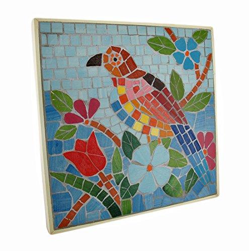 Zeckos Tropical Mosaic Tile Parrot Wall Plaque