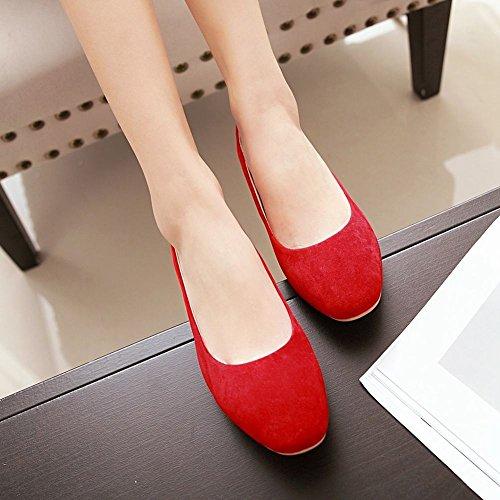 Mee Shoes Damen Nubukleder ohne Verschluss einfarbig Pumps Rot
