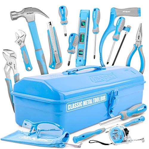 Hi-Spec 33 Piece Classic Home Workshop DIY Hand Tools Set in Retro Style Sheet-Metal Carry Box with Hacksaw, Pliers, Hammer, Screwdrivers & Safety Goggles - Great DIY Gift Toolkit (Le Specs Shop)