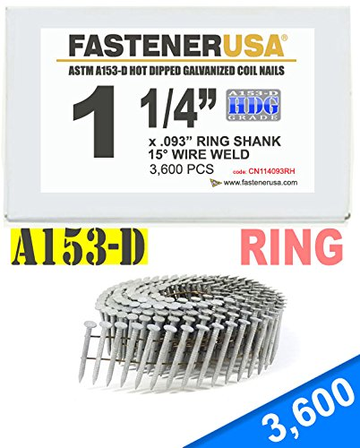 1 1/4'' x .093 RING A153-D HOT DIP COIL NAILS 15 DEGREE WIRE 3.6M Box
