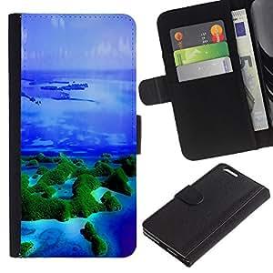 KLONGSHOP // Tirón de la caja Cartera de cuero con ranuras para tarjetas - Islas Trópicos Naturaleza Océano Azul Mar - Apple Iphone 6 PLUS 5.5 //