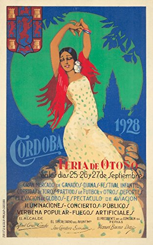 Cordoba Vintage Poster (artist: Alcala) Spain c. 1928 73913 (12x18 SIGNED Print Master Art Print - Wall Decor Poster)