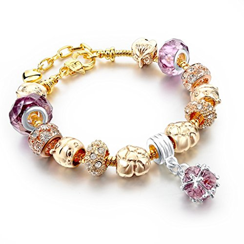 Long Way Gold Tone Heart Owl Bead Silver Plated Dark Purple Glass Charm Bracelet With Extender
