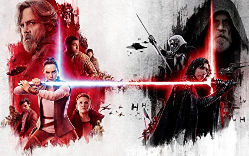Star Wars The Last Jedi 36x24 characters color vs black and