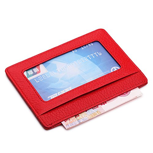 American Trends Genuine Leather Unisex Slim Card Case Card Holder With ID Card Window Red