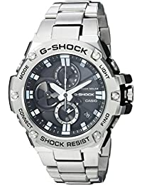 Mens G-Shock Quartz Resin and Stainless Steel Dress Watch, Color Silver