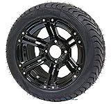 12'' TERMINATOR Gloss Black Golf Cart Wheels and 215/40-12 DOT Golf Cart Tires - Set of 4