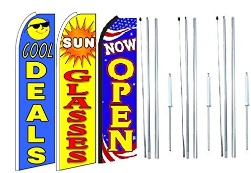 cool deals, sun glasses, Now Open King Swooper Feather Flag Sign Kit With Complete Hybrid Pole set- Pack of - Now Sunglasses