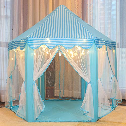 wilwolfer Princess Castle Play Tent for Girls or Boys Large Kids Play Tents Hexagon Playhouse with Little Star Lights Toys for Children Indoor Games (Blue)